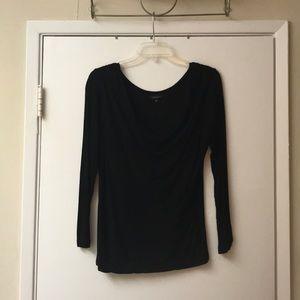 Stiletto Shirred Neckline Black Top